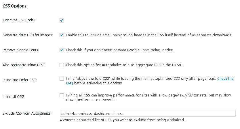 autoptimize minify html css js